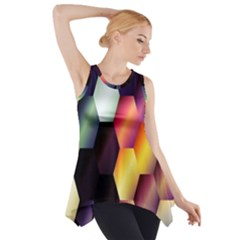 Colorful Hexagon Pattern Side Drop Tank Tunic