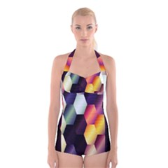 Colorful Hexagon Pattern Boyleg Halter Swimsuit