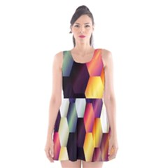 Colorful Hexagon Pattern Scoop Neck Skater Dress