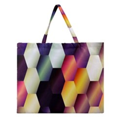 Colorful Hexagon Pattern Zipper Large Tote Bag