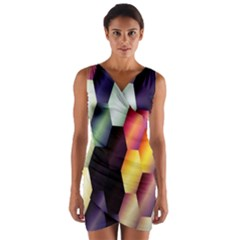 Colorful Hexagon Pattern Wrap Front Bodycon Dress