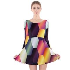 Colorful Hexagon Pattern Long Sleeve Velvet Skater Dress