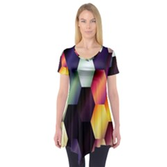 Colorful Hexagon Pattern Short Sleeve Tunic