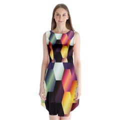 Colorful Hexagon Pattern Sleeveless Chiffon Dress
