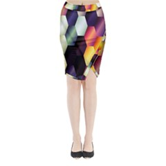 Colorful Hexagon Pattern Midi Wrap Pencil Skirt