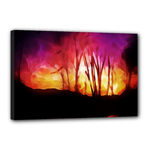 Fall Forest Background Canvas 18  X 12