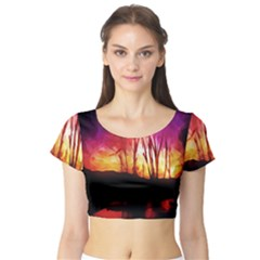 Fall Forest Background Short Sleeve Crop Top (tight Fit)
