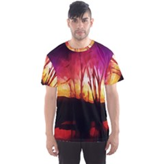 Fall Forest Background Men s Sport Mesh Tee