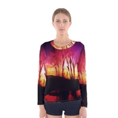 Fall Forest Background Women s Long Sleeve Tee