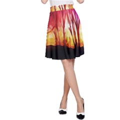 Fall Forest Background A Line Skirt