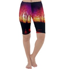 Fall Forest Background Cropped Leggings