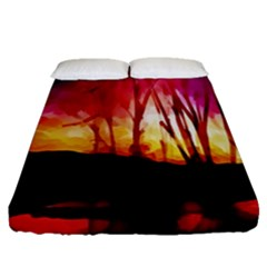 Fall Forest Background Fitted Sheet (queen Size)