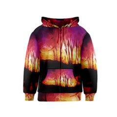 Fall Forest Background Kids  Zipper Hoodie
