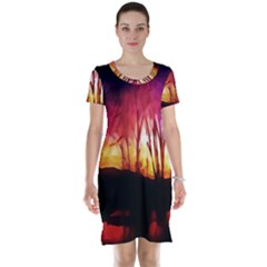 Fall Forest Background Short Sleeve Nightdress
