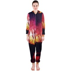 Fall Forest Background Hooded Jumpsuit (ladies)