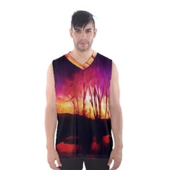 Fall Forest Background Men s Basketball Tank Top