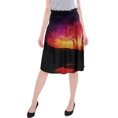 Fall Forest Background Midi Beach Skirt