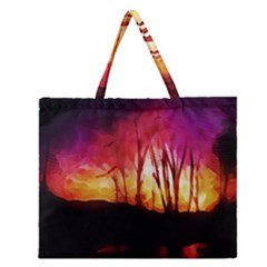 Fall Forest Background Zipper Large Tote Bag