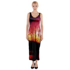 Fall Forest Background Fitted Maxi Dress