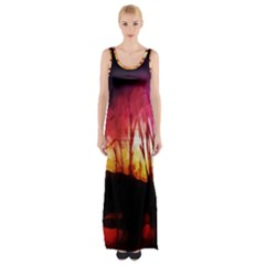 Fall Forest Background Maxi Thigh Split Dress