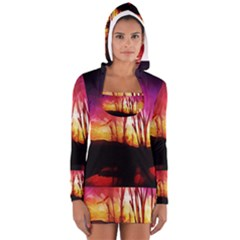 Fall Forest Background Women s Long Sleeve Hooded T-shirt