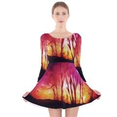 Fall Forest Background Long Sleeve Velvet Skater Dress