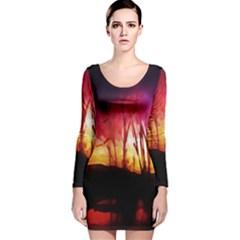 Fall Forest Background Long Sleeve Velvet Bodycon Dress