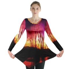 Fall Forest Background Long Sleeve Tunic