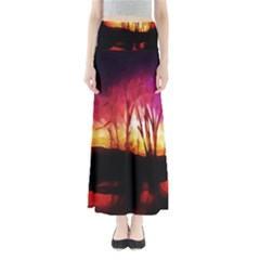 Fall Forest Background Maxi Skirts