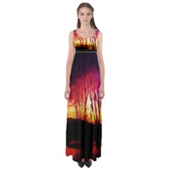 Fall Forest Background Empire Waist Maxi Dress