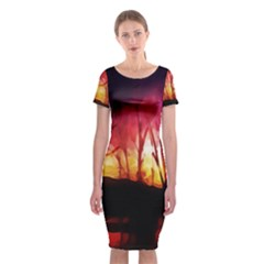 Fall Forest Background Classic Short Sleeve Midi Dress