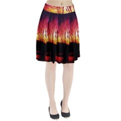 Fall Forest Background Pleated Skirt