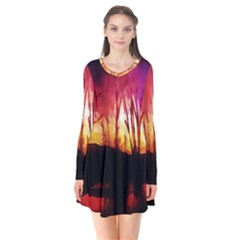 Fall Forest Background Flare Dress