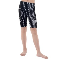 Abstract Background Resembling To Metal Grid Kids  Mid Length Swim Shorts