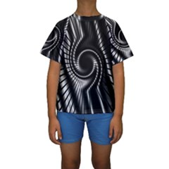 Abstract Background Resembling To Metal Grid Kids  Short Sleeve Swimwear