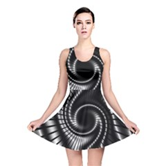 Abstract Background Resembling To Metal Grid Reversible Skater Dress