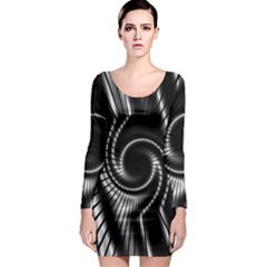 Abstract Background Resembling To Metal Grid Long Sleeve Bodycon Dress