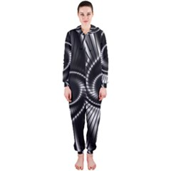 Abstract Background Resembling To Metal Grid Hooded Jumpsuit (ladies)
