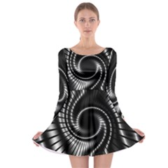 Abstract Background Resembling To Metal Grid Long Sleeve Skater Dress