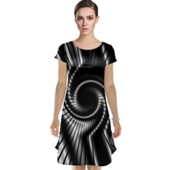 Abstract Background Resembling To Metal Grid Cap Sleeve Nightdress