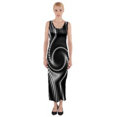 Abstract Background Resembling To Metal Grid Fitted Maxi Dress