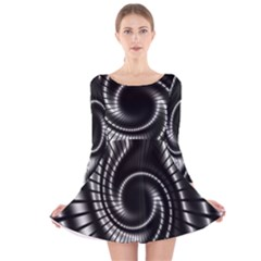 Abstract Background Resembling To Metal Grid Long Sleeve Velvet Skater Dress