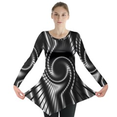 Abstract Background Resembling To Metal Grid Long Sleeve Tunic
