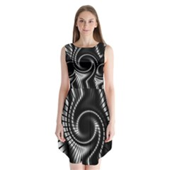 Abstract Background Resembling To Metal Grid Sleeveless Chiffon Dress