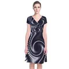 Abstract Background Resembling To Metal Grid Short Sleeve Front Wrap Dress