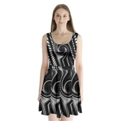 Abstract Background Resembling To Metal Grid Split Back Mini Dress