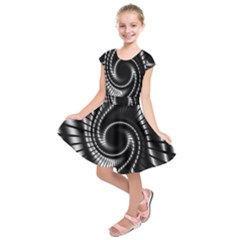 Abstract Background Resembling To Metal Grid Kids  Short Sleeve Dress