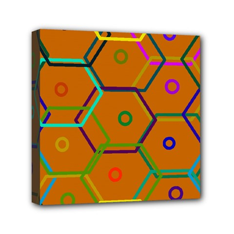 Color Bee Hive Color Bee Hive Pattern Mini Canvas 6  x 6