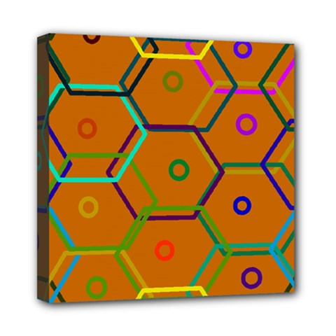 Color Bee Hive Color Bee Hive Pattern Mini Canvas 8  X 8