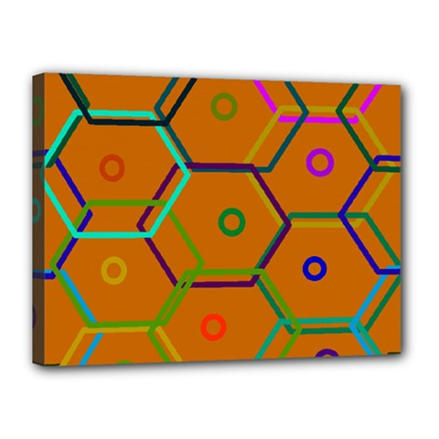 Color Bee Hive Color Bee Hive Pattern Canvas 16  x 12